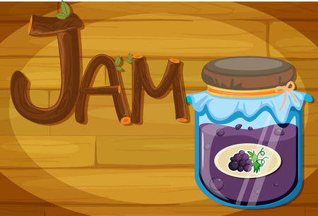 cartoon menu: Illustration of a wooden frame with a jam
