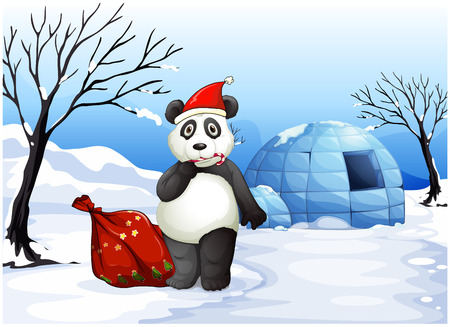 Illustration of a panda with a red sack Vector