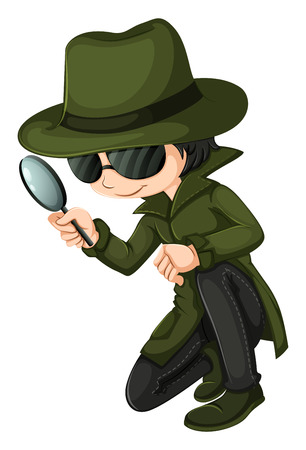 Illustration of a smart young detective on a white background Illustration