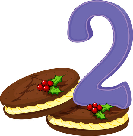 numeric: Illustration of the two christmas cookies on a white background Illustration