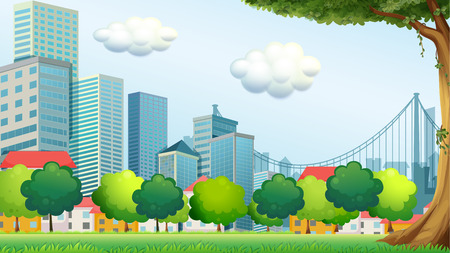 establishments: Illustration of the trees near the tall buildings