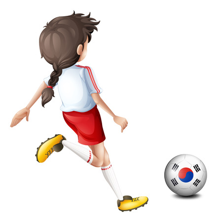 footwork: Illustration of a girl kicking the ball with the South Korean flag on a white background