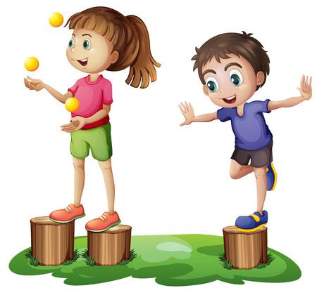 playmates: Ilustraci�n de los ni�os jugando por encima de los tocones en un fondo blanco