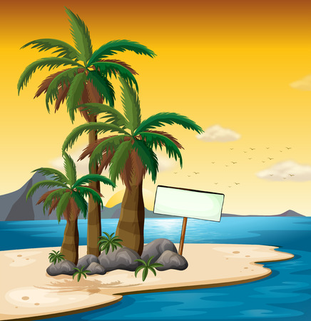 coconut water: Illustration of an empty signboard near the palm trees at the shore Illustration