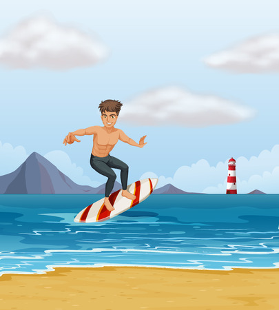 Illustration of a boy surfing at the beach Vector