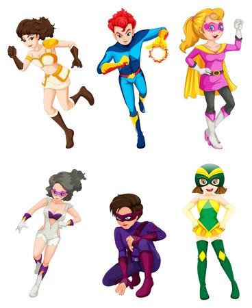 superwoman: Ilustraci�n de un super h�roes masculinos y femeninos en un fondo blanco