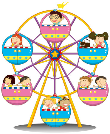 Illustration of the happy children riding the ferris wheel on a white background Illustration