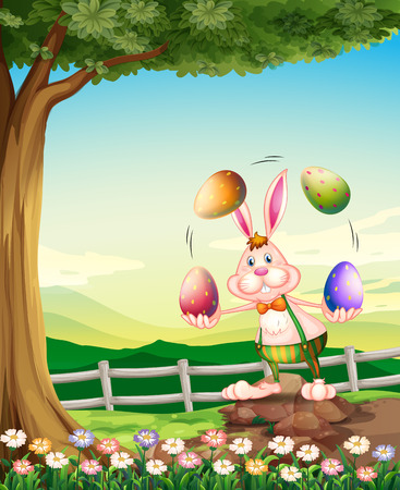Illustration of a rabbit juggling the Easter eggs Vector