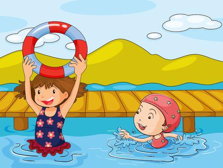 Illustration of the kids enjoying the refreshing water Vector