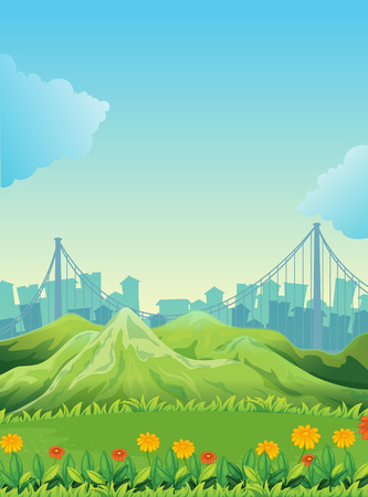 Illustration of the mountains across the tall buildings Vector