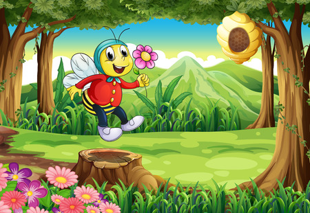 Illustration of a happy bee at the forest Vector