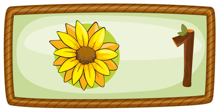 Illustration of a frame with one flower on a white background Vector