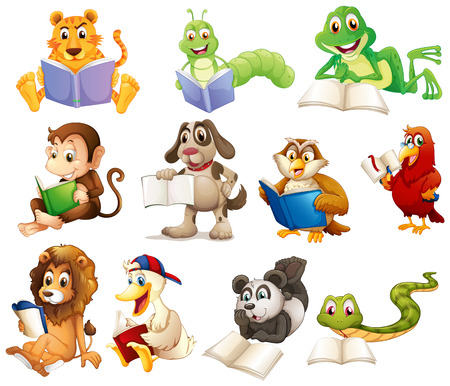 Illustration of a group of animals reading on a white background Illustration
