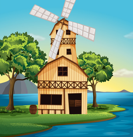 swingdoor: Illustration of a farmhouse with a windmill