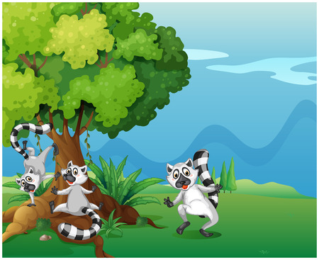 Illustration of the playful lemurs playing near the big tree Vector