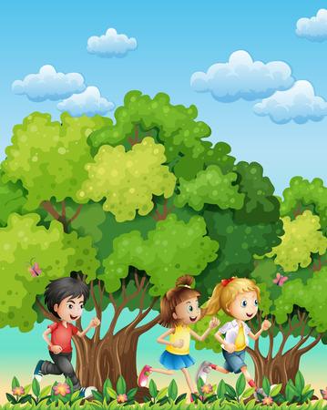 Illustration of the three kids running outdoor Vector