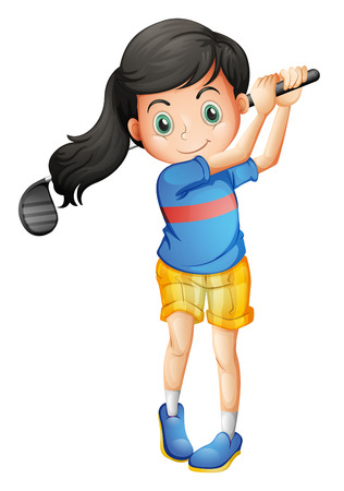 cartoon golf: Illustration of a young girl playing golf on a white background