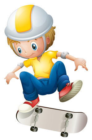 Illustration of a boy playing with the rollerskate on a white background Vector