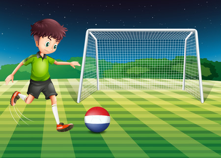 Illustration of a male player kicking the ball with the flag of Netherlands Vector