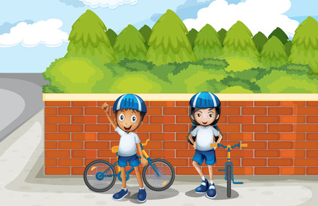 Illustration of the two young bikers at the street Vector