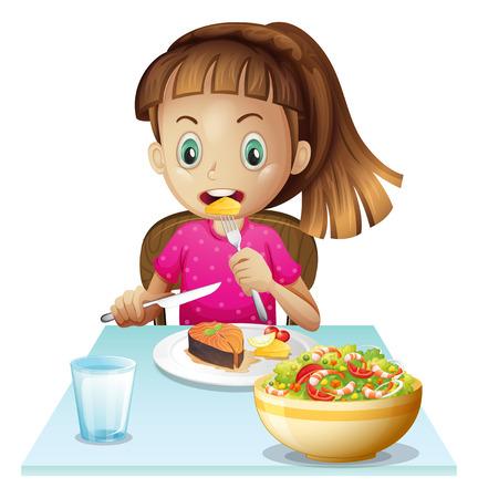 eating food: Illustrazione di una bambina che mangia pranzo su uno sfondo bianco