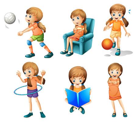 baloncesto chica: Ilustración de las diferentes actividades de una joven en un fondo blanco