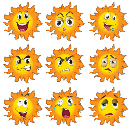 Illustration of the different facial expressions of the sun on a white background Vector
