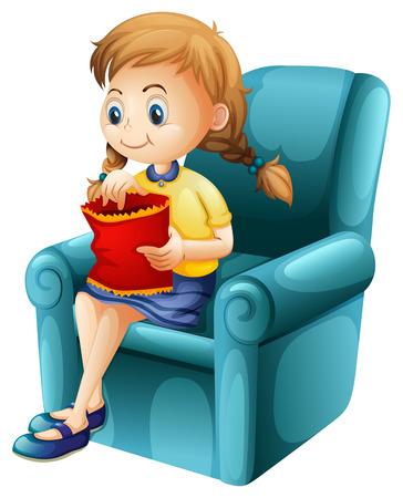 red couch: Illustrazione di una ragazza che mangia junkfoods mentre seduti su uno sfondo bianco