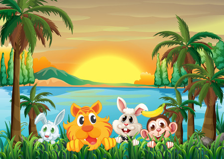 Illustration of the animals at the riverbank with coconut trees Illustration