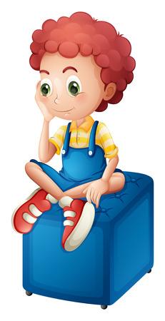 Illustratie van een jonge jongen zitten boven de blauwe stoel op een witte achtergrond