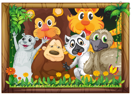 Illustration of a wooden frame with animals on a white background Vector