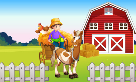horse cart: Illustration of a boy at the farm