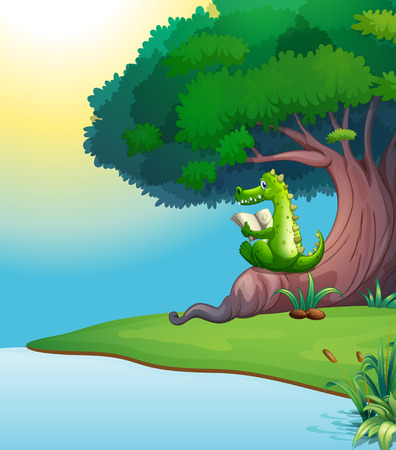 Illustration of a crocodile reading under the tree Vector