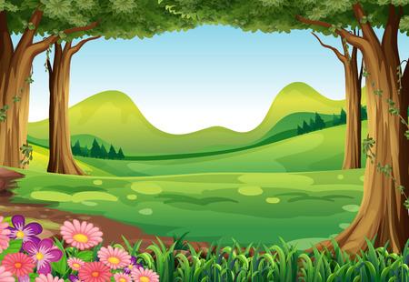 Ilustración de un bosque verde