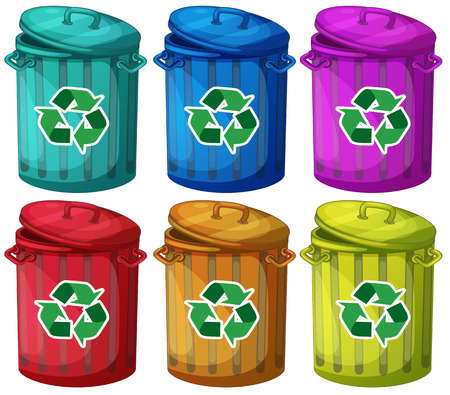 blue signage: Illustration of the six trashcans for recyclable garbages on a white background