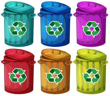 reciclable: Ilustración de los seis botes de basura para basuras reciclables en un fondo blanco