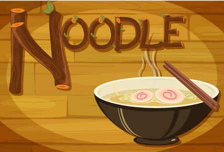 Illustration of a wooden frame with a noodle Vector