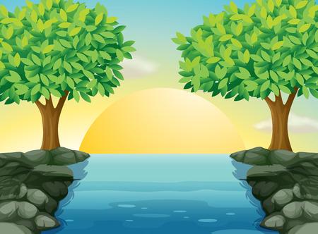 rising of sun: Ilustración de una vista del hermoso río