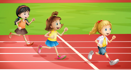 Illustration of the three kids jogging Vector