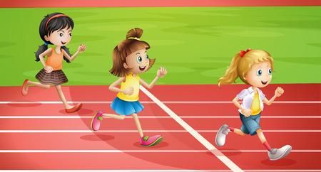 Illustration of the three kids jogging Vector