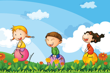 Illustration of the kids playing with the bouncing balloons Vector