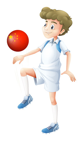 Illustration of a boy using the soccer ball with the flag of China on a white background Vector