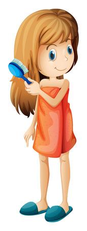 long hair woman: Ilustraci�n de un adolescente que se peina el pelo en un fondo blanco