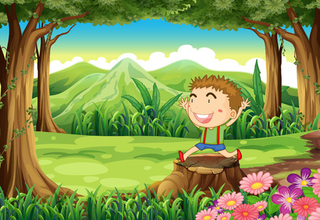Illustration of a stump at the woods with a cute little boy Vector