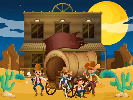 Illustration of a group of armed men with a wagon near the salon bar Vector