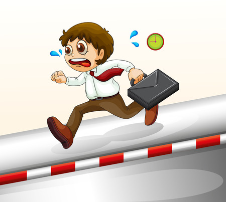 tardiness: Illustration of a man running hurriedly on a white background