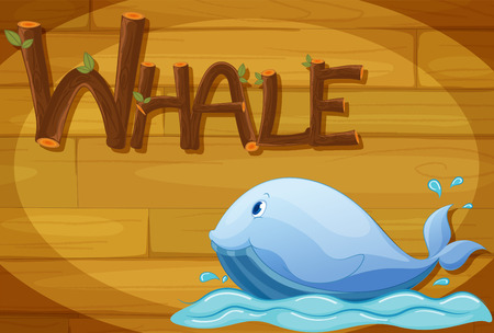 Illustration of a wooden frame with a whale Vector