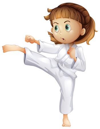 Illustration of a young girl showing her karate moves on a white background