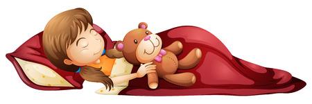 흰색 배경에 그녀의 장난감을 가지고 건강하게 자고있는 어린 소녀의 그림
