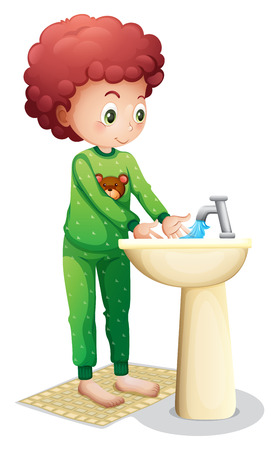 cleanliness: Illustration of a young boy washing his hands on a white background